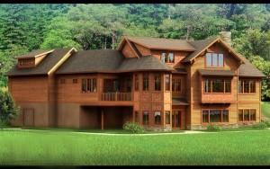 Дерево активно используется для экстерьера и внутренне отделки загородных домов